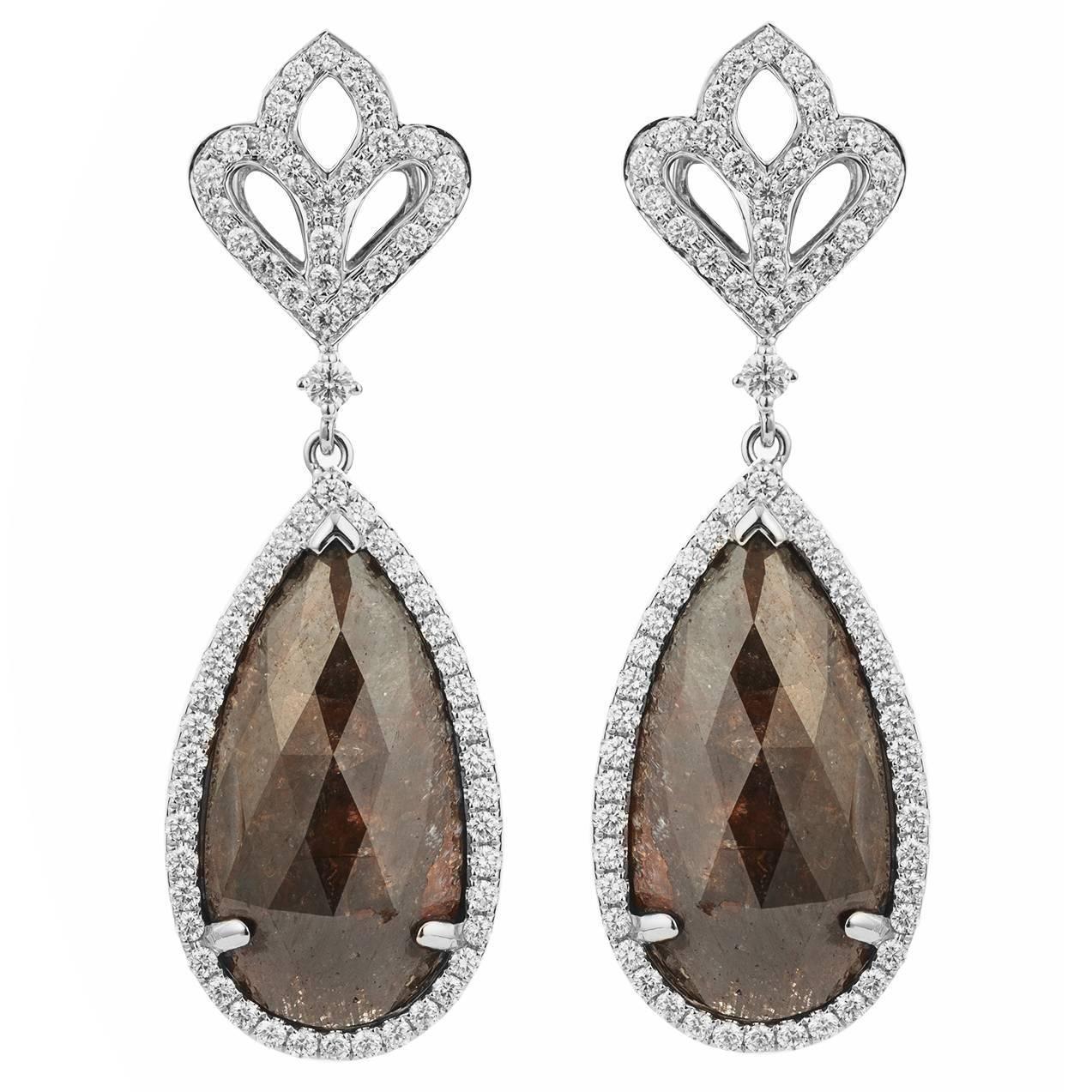 Milky Brown Diamond gold Chandelier Earrings | From a unique collection of vintage chandelier earrings at https://www.1stdibs.com/jewelry/earrings/chandelier-earrings/