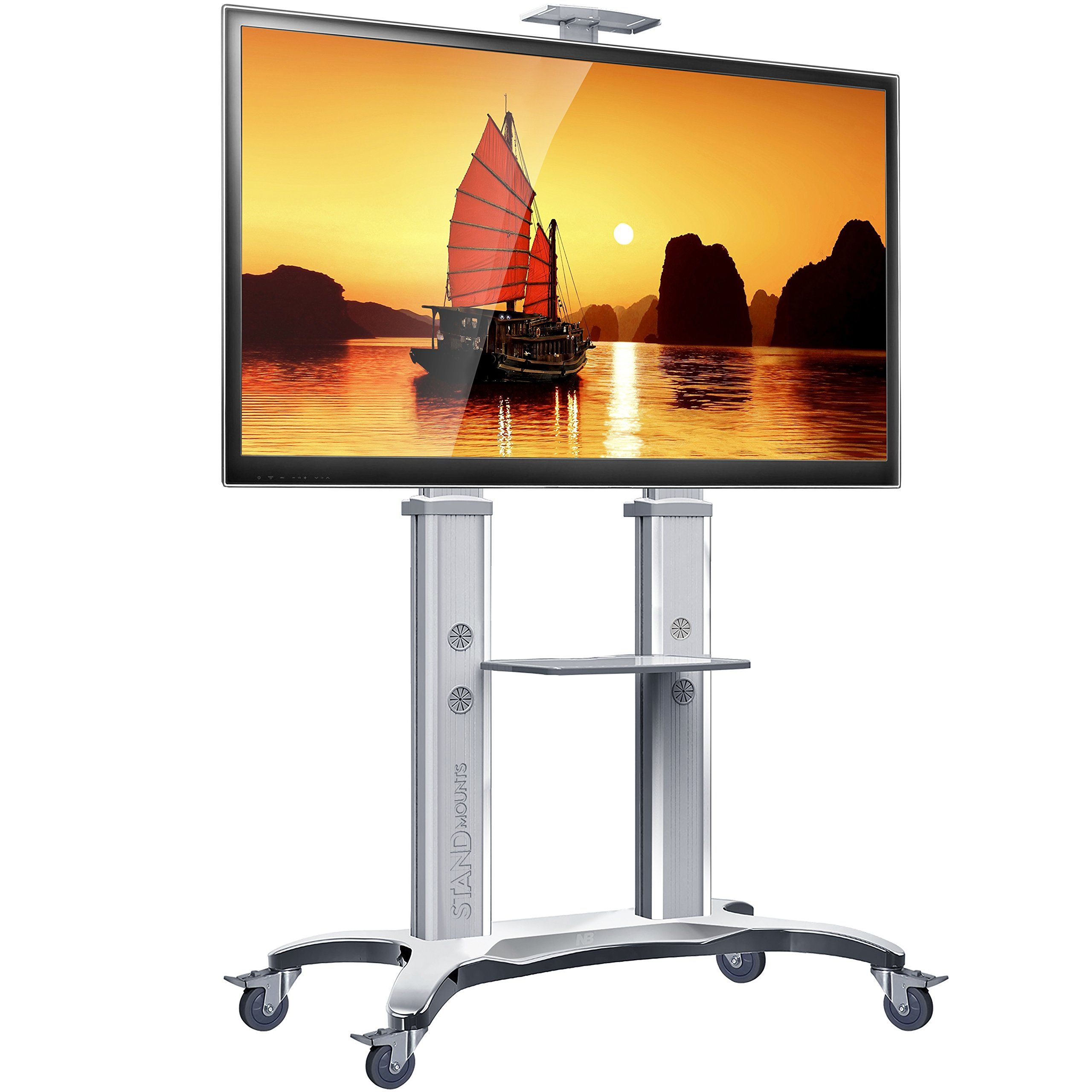 North Bayou TV Stand With Wheels TV Cart Mobile TV Stand For Flat Screens  55