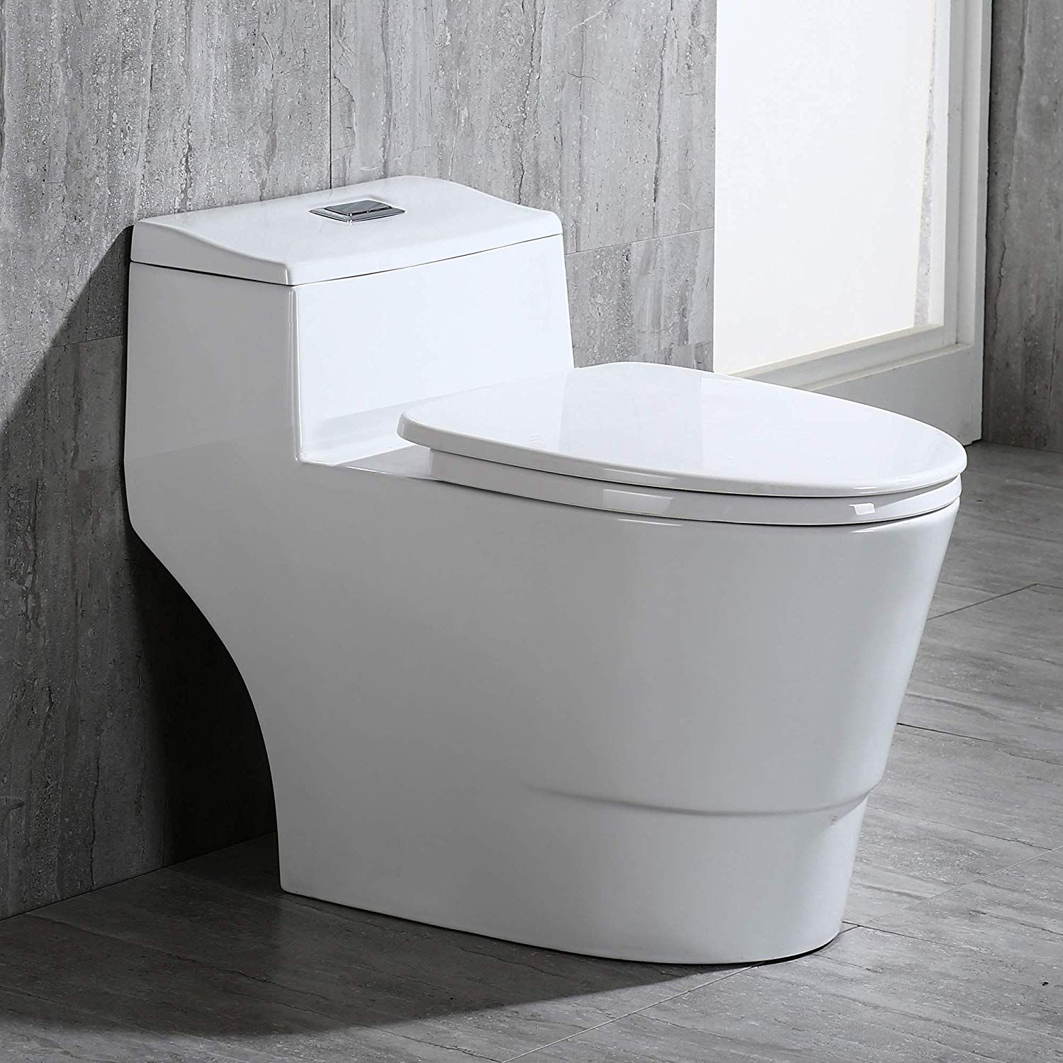 Woodbridge B0735 B 0735 T 0018 Dual Flush Elongated One Piece Toilet With Soft Closing Seat Comfort Height White One Piece Toilets Water Sense Wood Bridge