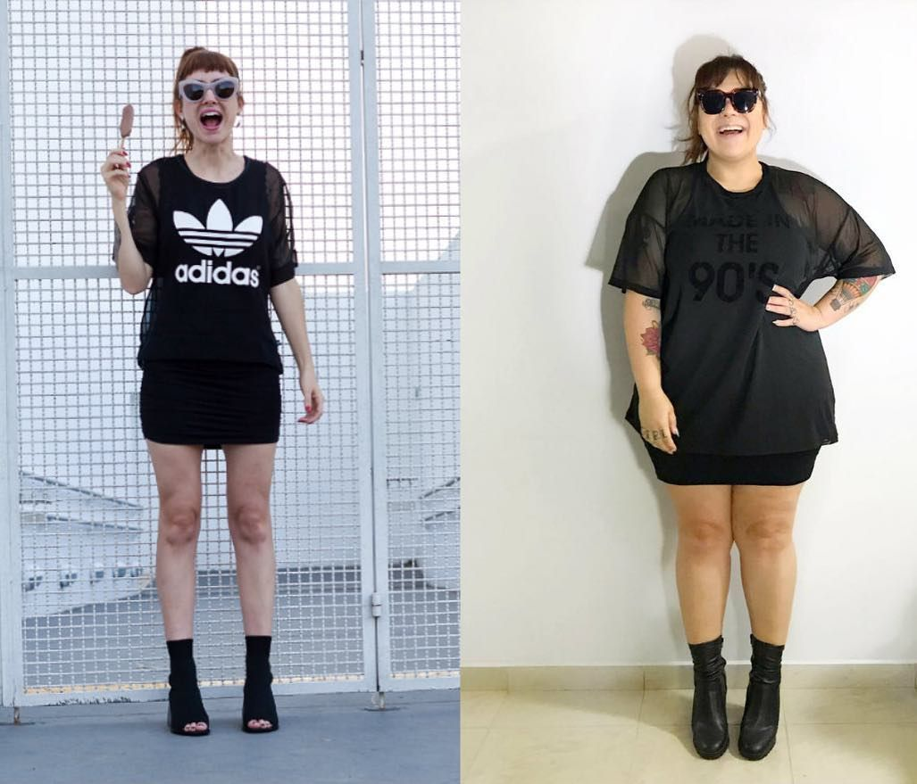 """4e47ce365c0 escolhi um vestido suuuuper justo e curto pra usar com uma camiseta  transparente por cima. esse look é uma…"""""""