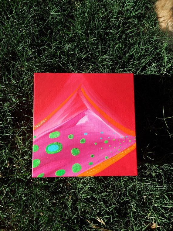 Abstract Landscape Mountain Painting Hot Pink by GlitterBombArt
