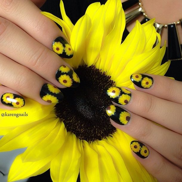 Nail Designs: Why Not Put Flowers on Nails - Pretty Designs. Sunflower Nail  ArtCute ... - Nail Designs: Why Not Put Flowers On Nails Sunflower Nails, Nail