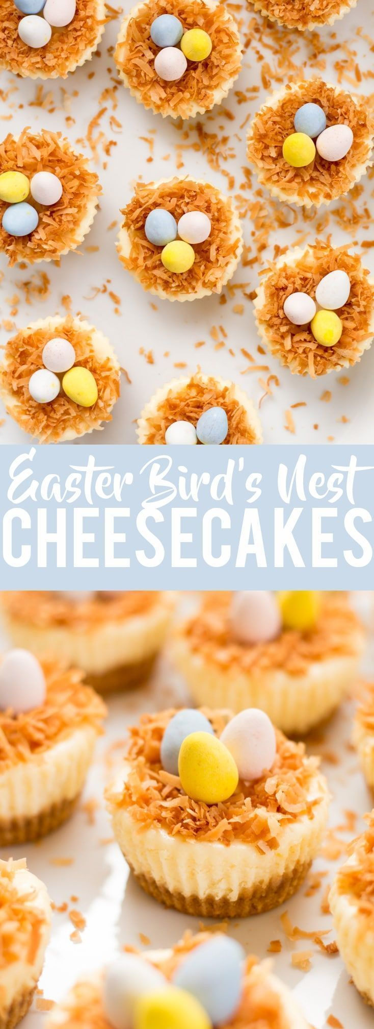 Photo of These adorable Easter Bird's Nest Mini Cheesecakes will be a hit at your Easter brunch or dinner and