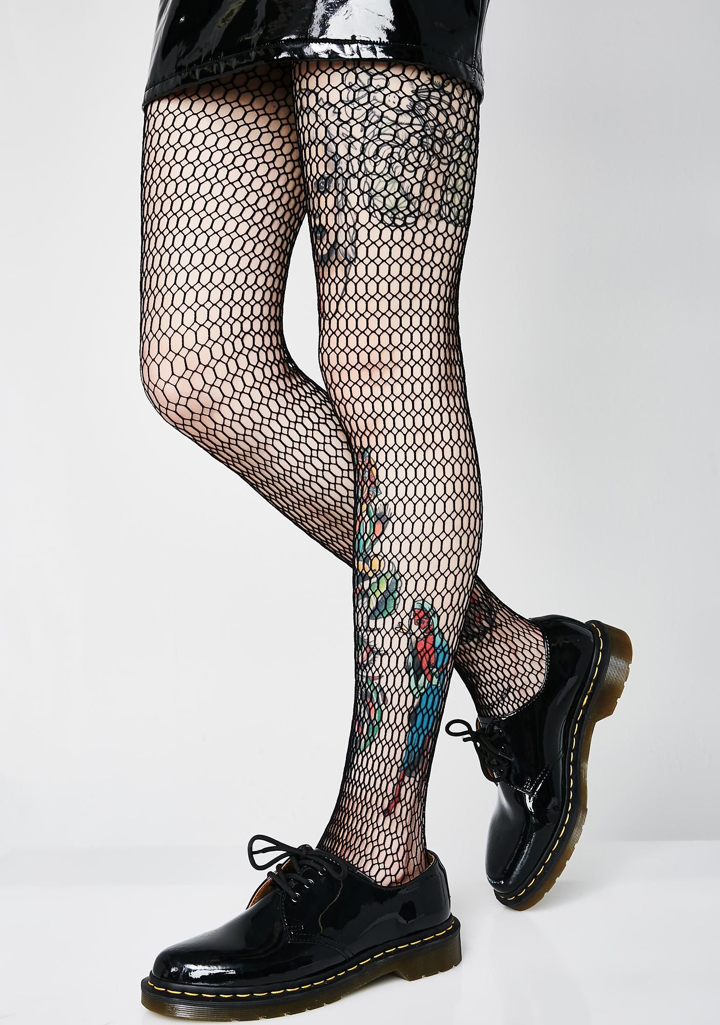 Girls Fishnet Black Tights