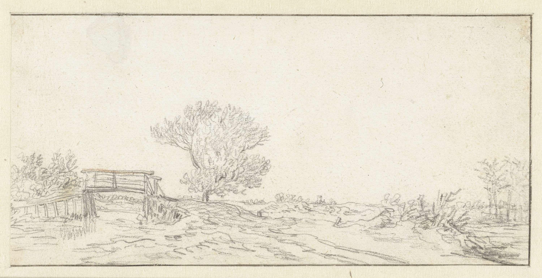 Jan van Goyen | Landschap met een boom bij een brug, Jan van Goyen, 1630 - 1632 |