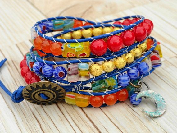 Fiesta Leather Wrap Bracelet beaded x4wrap by WrappedInLeather, $48.95