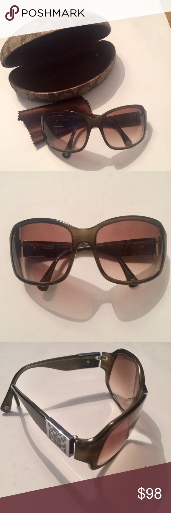 33c6306580b9 ... new zealand coach nina s494 olive sunglasses like new no scratches.  silver and tan 1beda
