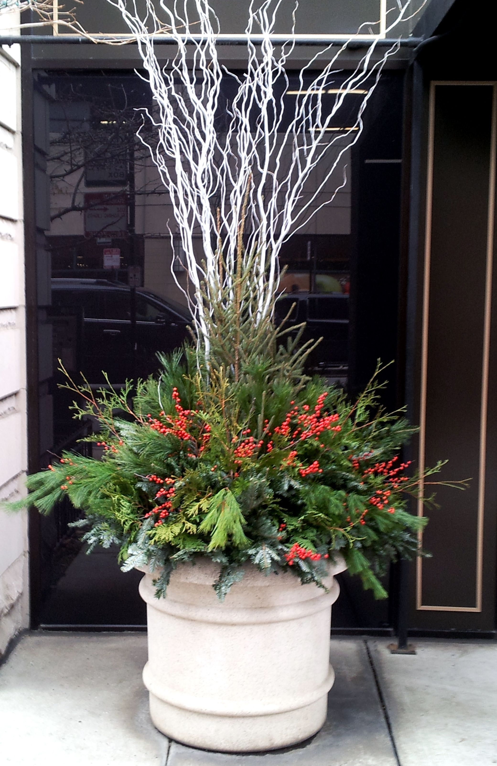 Holiday | Winter | Decor | Containers | Planters | Evergreens | Planting | Display | Urban | Garden | Landscape | Design | Front Entrance