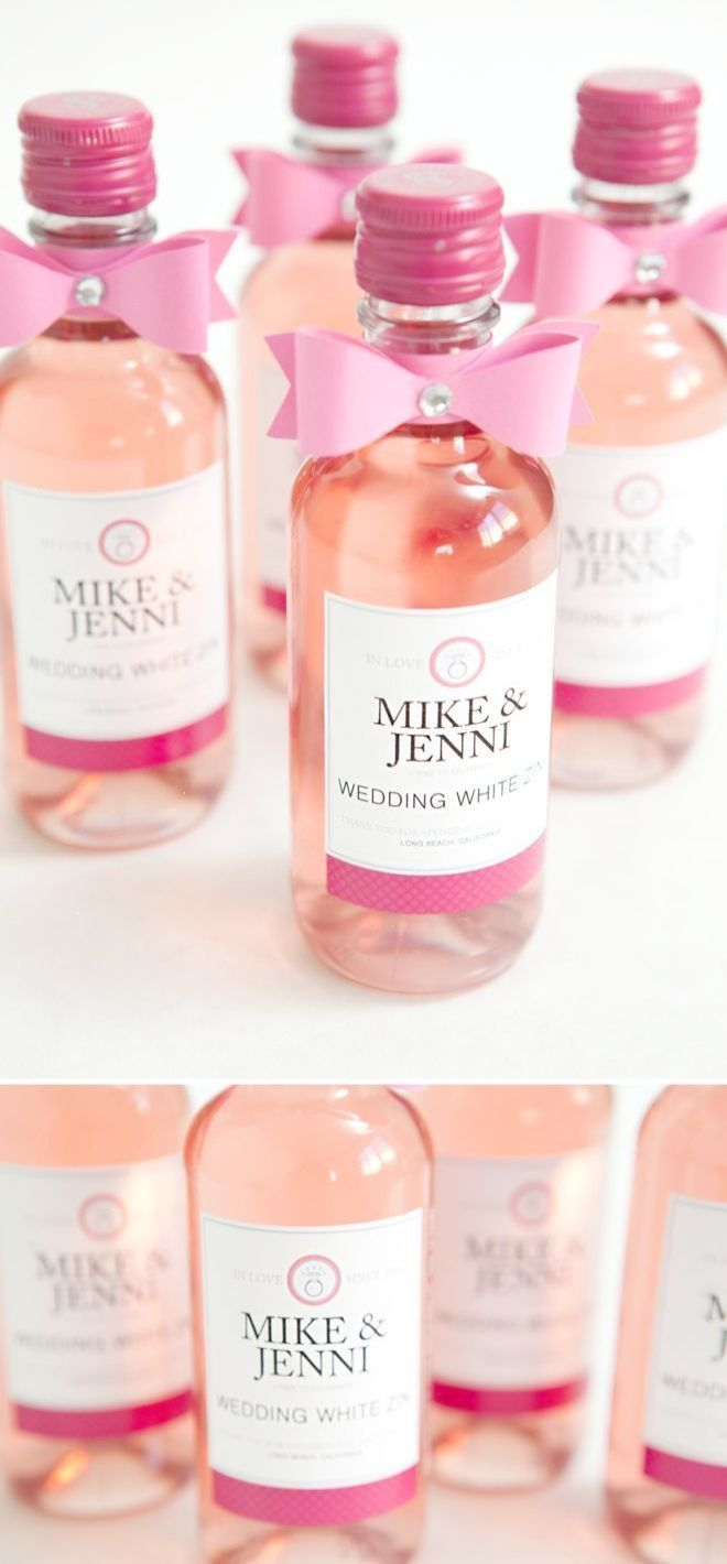 DIY mini-wine bottle wedding favors with FREE label downloads ...