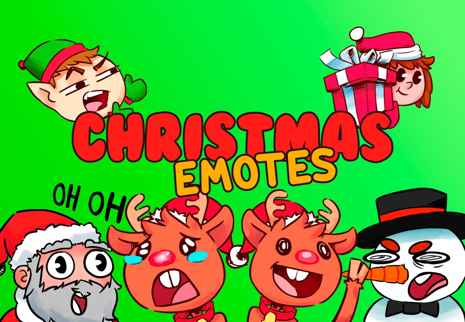 6 christmas twitch mixer and youtube emotes etsy