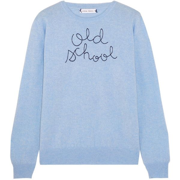 Lingua Franca Old School embroidered cashmere sweater (€300) ❤ liked on Polyvore featuring tops, sweaters, shirts, sky blue, cashmere shirt, embroidered top, sky blue shirt, embroidered sweater and embroidery shirts