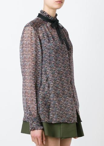 Philosophy printed chiffon buttondown top, $550/ $220