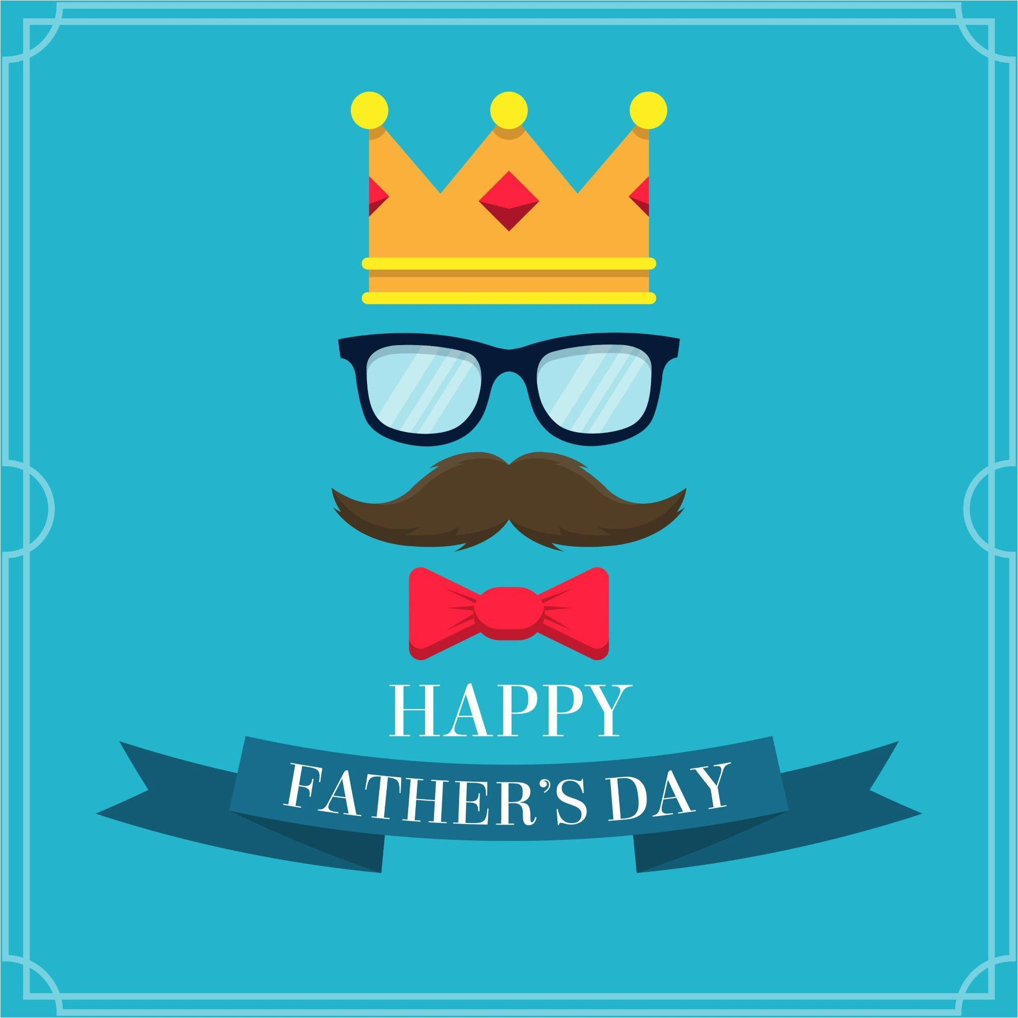 Happy Fathers Day Background With Gold Crown Glasses