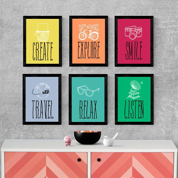 Kit de quadros decorativos create explore smile travel - Posters decorativos ...