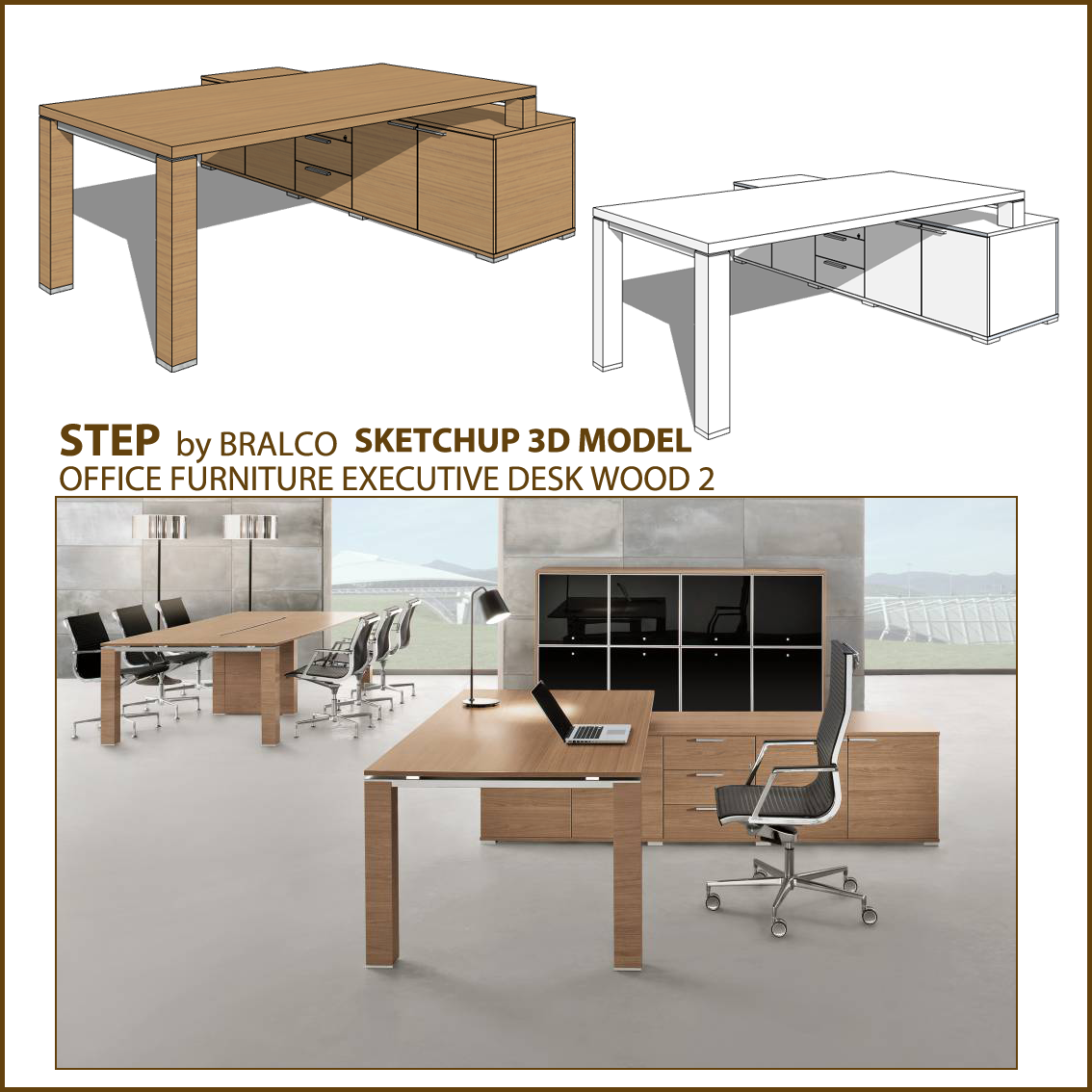 Free sketchup 3d model office wood executive desk jet for Table design sketchup
