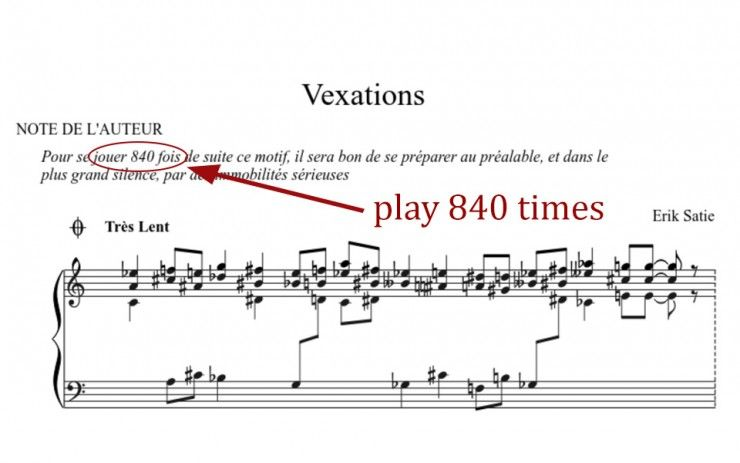 Vexations The Longest Piano Piece With Images Piece Of Music