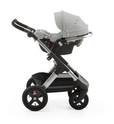 stokke pipa by nuna car seat grey melange mounted on stokke trailz usa only baby. Black Bedroom Furniture Sets. Home Design Ideas