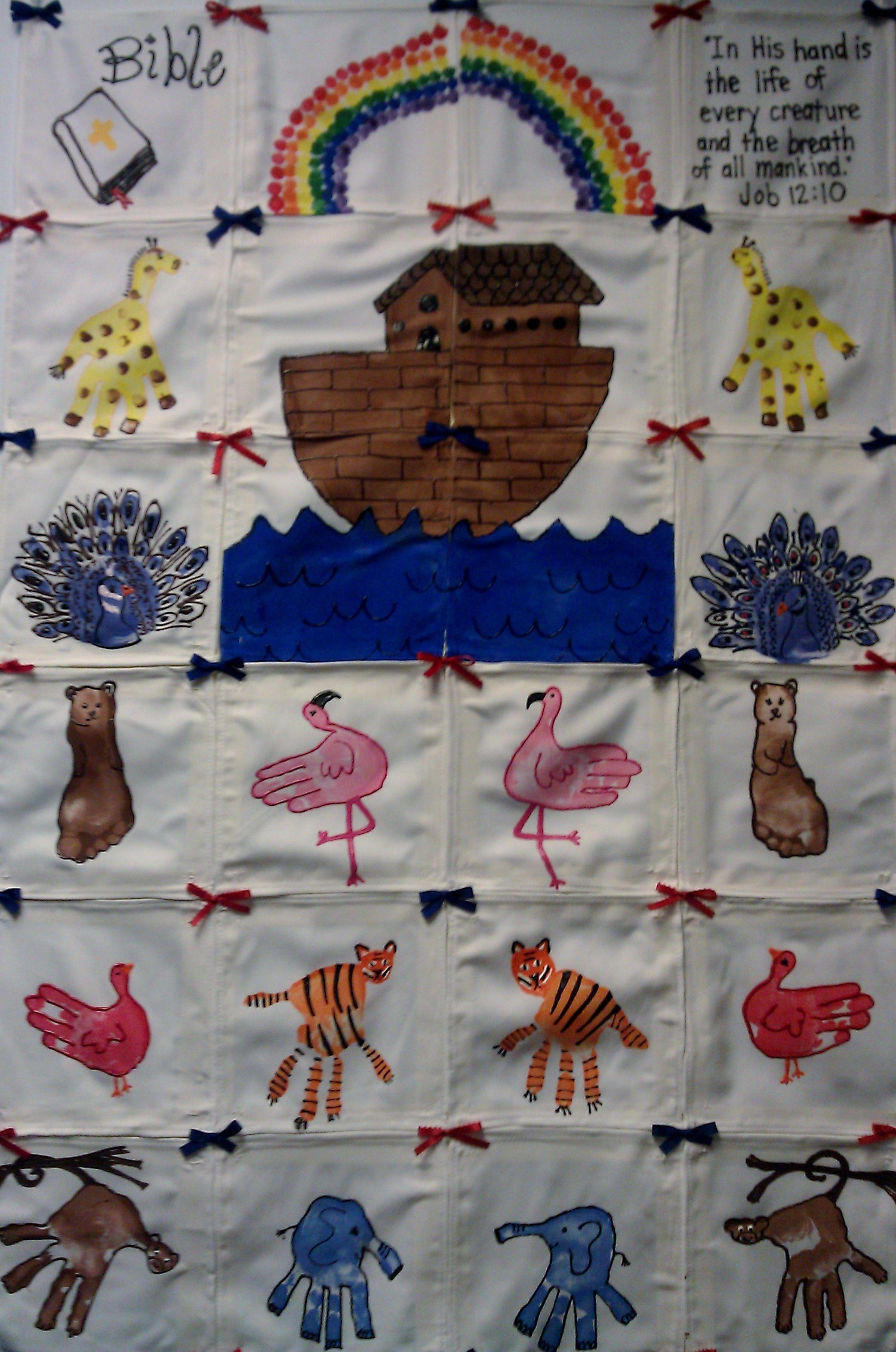 bible noah u0027s ark themed preschool class hand print quilt