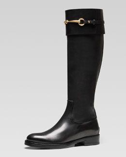 X1QZ5 Gucci Jamie Flat Riding Boot, Black