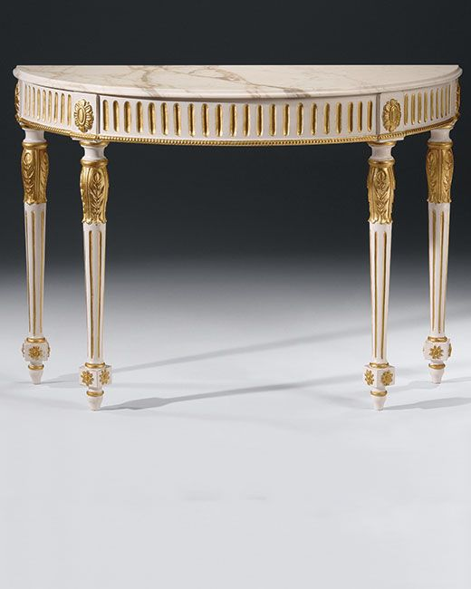Marble And Carved Wood Accent Table: Luxury Furniture