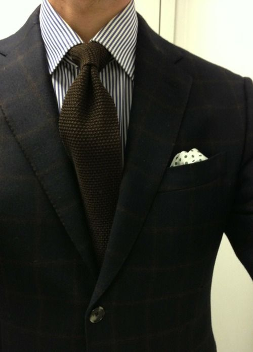 Blues and browns - nice fabric, knit tie.