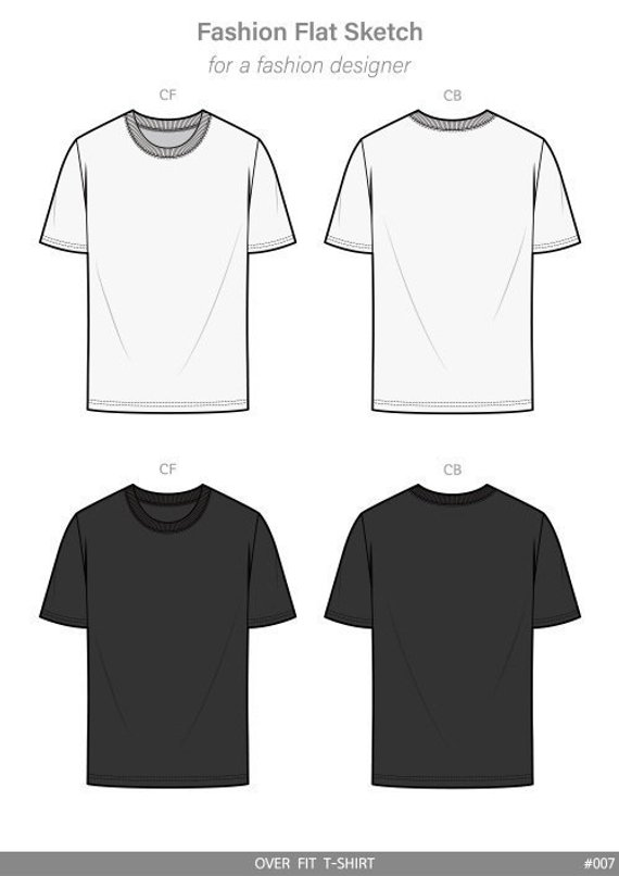 OVER FIT Tee shirt Fashion flat technical drawing vector template 784c29b1e2e7c