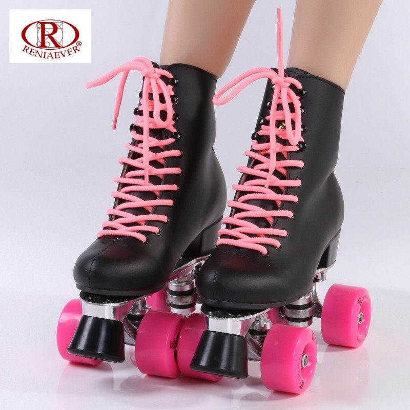 Online Shop Reniaever Double Row Skate Polyurethane Wheels Double Row Roller Skates Leather Base Of Aluminium Black High Boots White Roller Skates Skate Shoes