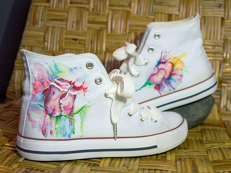 Veredelte Handbemalte Schuhe Ob Chucks Pumps Ballerinas Etc