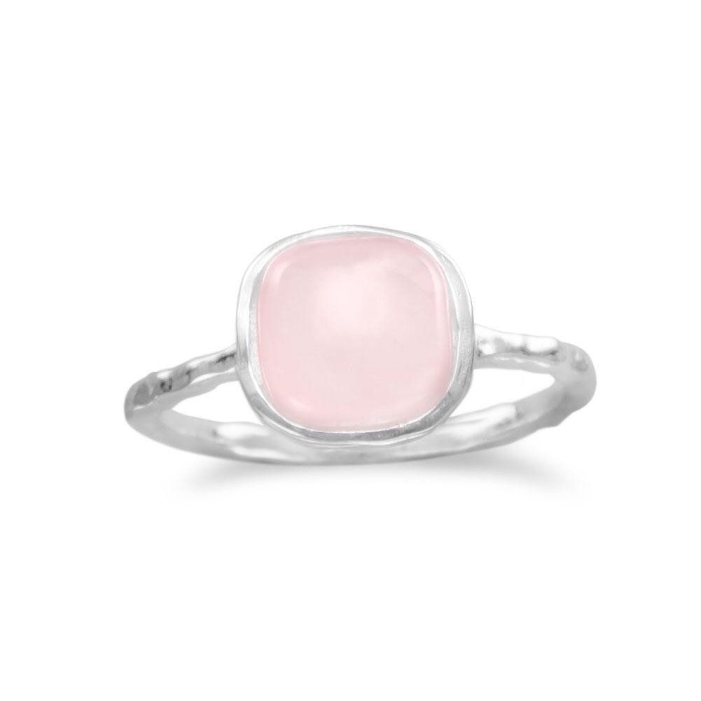 Rose Chalcedony 14mm Square Faceted 925 Sterling Silver Plated Bezel Ring