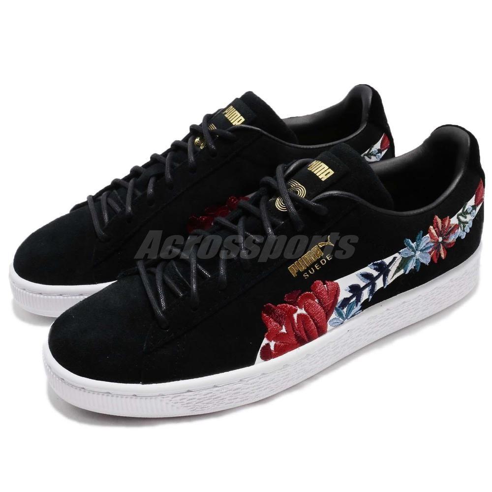 b6d74933ba00 Puma Suede Hyper Embellished Wns 50th Black Flower Floral Women Shoe  366124-01