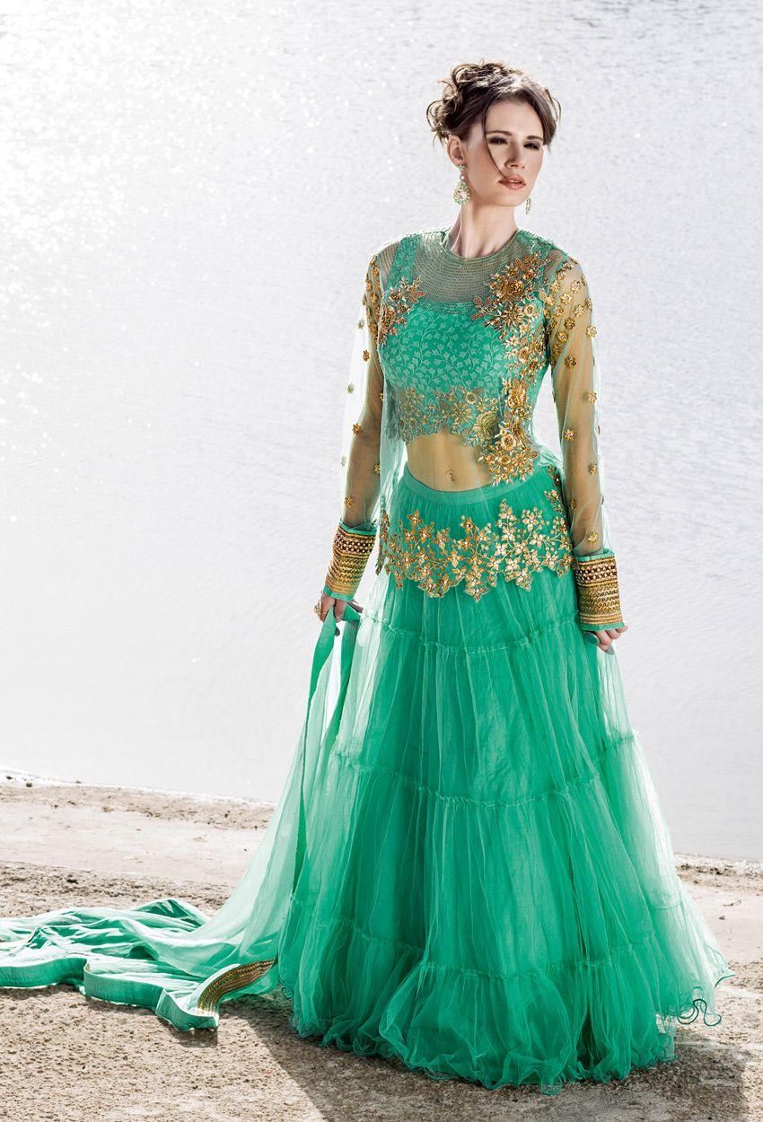 Aqua #Green #Net And #Chinon #Anarkali #Suit #nikvik #kameez #usa ...
