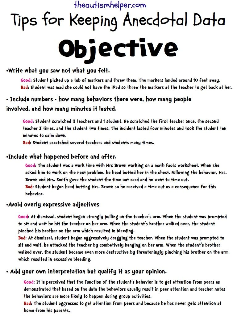 keeping anecdotal data objective teaching student centered sasha keeping anecdotal data objective education blog post retrieved from this resource simply describes how to keep anecdotal data professional