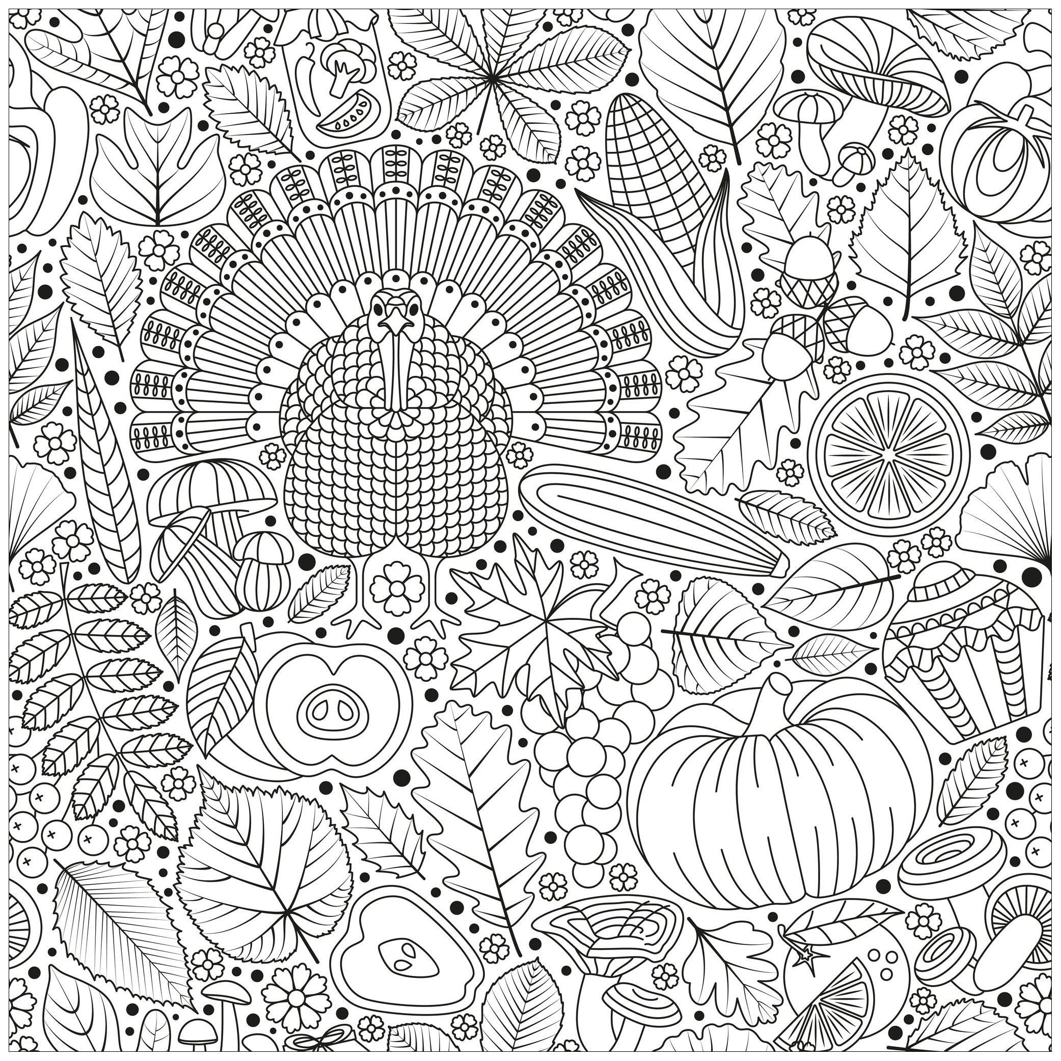 Thanksgiving turkey and vegetables - Thanksgiving Coloring ...