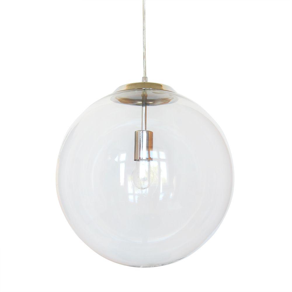 BARI Klarglas Kugellampe mit 40 cm Durchmesser und verchromter Halterung.