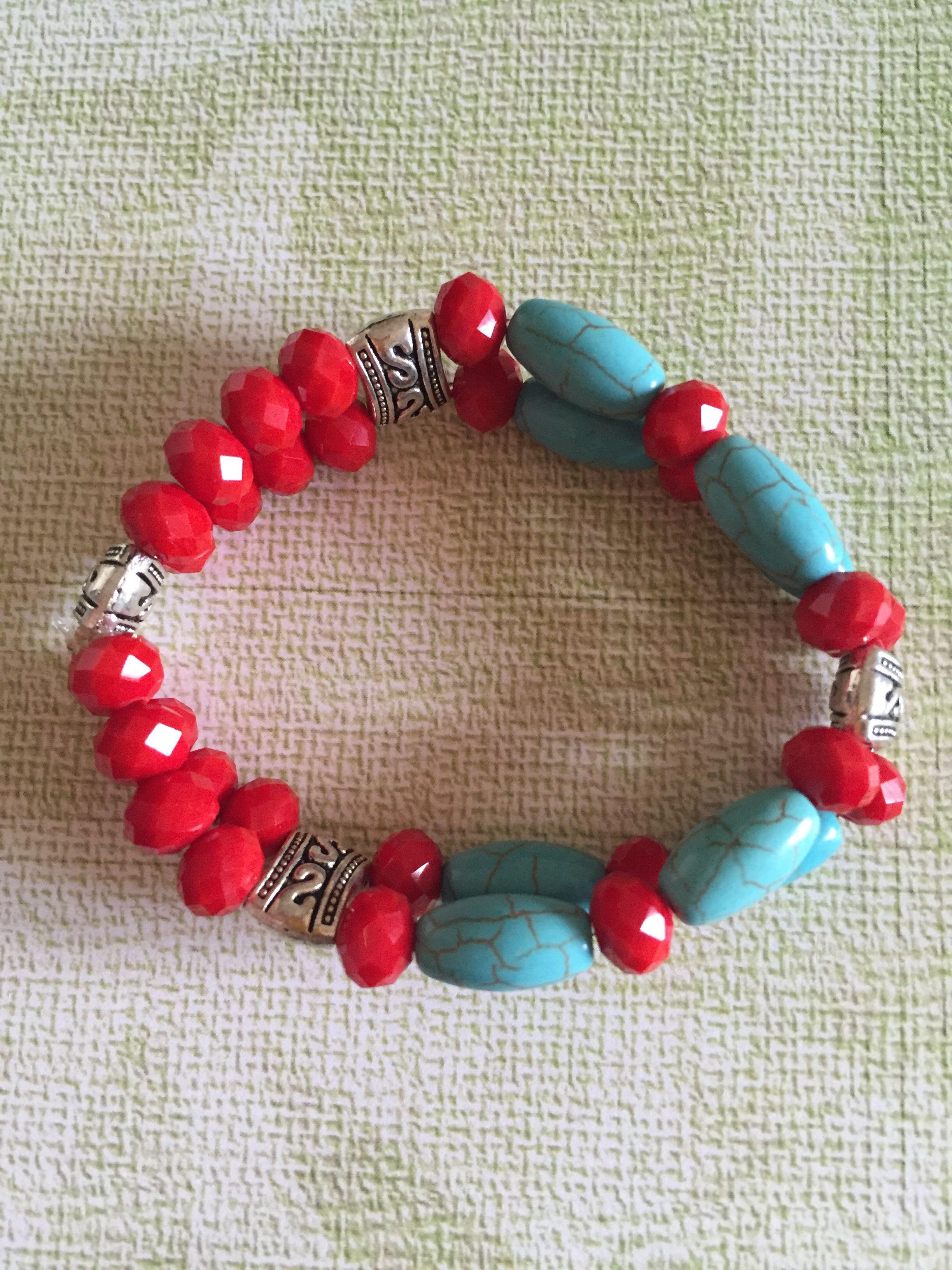 a61ae99cd201 Pulsera de piedra aqua y roja