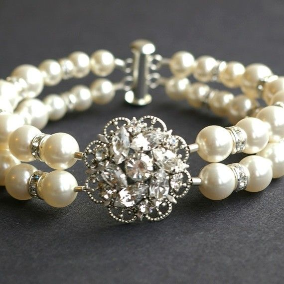 Pearl Bridal Wedding Bracelet Vintage Cuff By Luxedeluxe 68 00