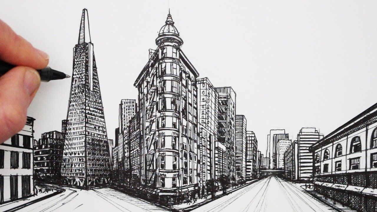 How To Draw In 2 Point Perspective San Francisco Buildings 2 Point Perspective Drawing Perspective Drawing Point Perspective