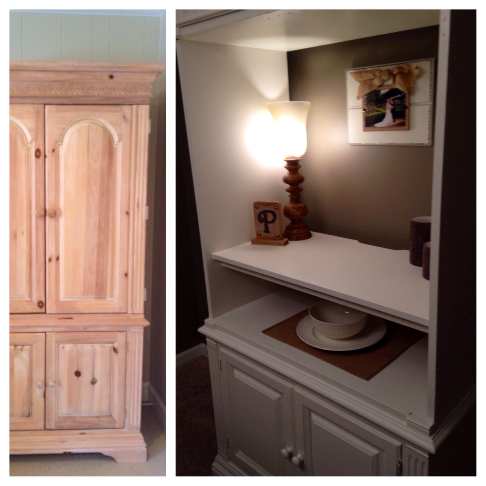 TV Armoire Repurposed Into A Dining Room Cabinet/hutch. #armoire #diningroom  #