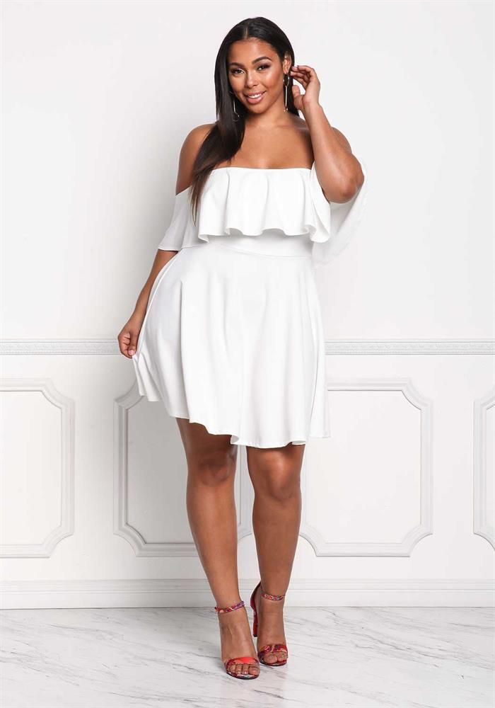 Plus Size Clothing | Plus Size Off Shoulder Ruffle Flared ...