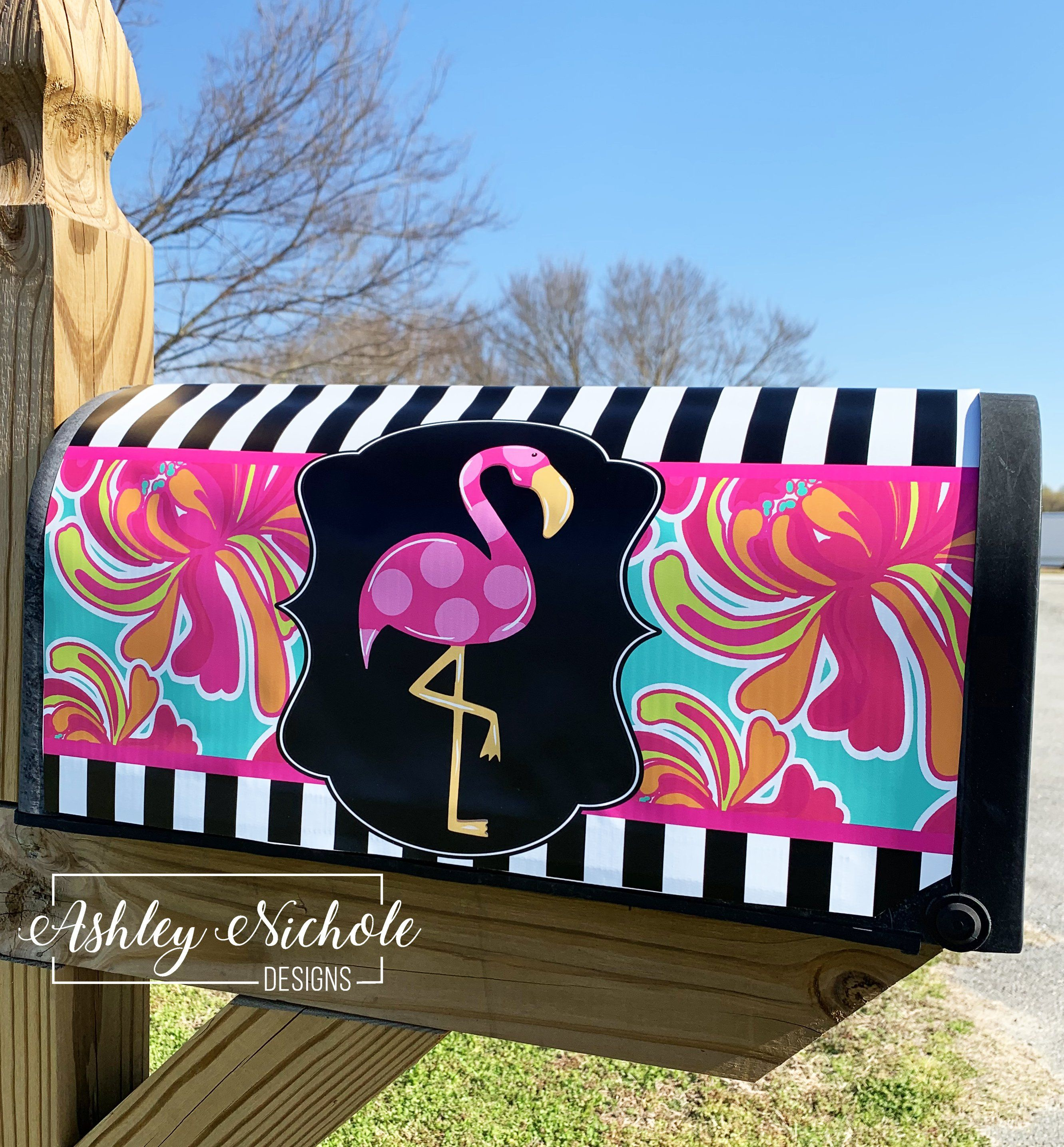 Flamingo Mailbox Cover Magnetic Painted Mailboxes Mailbox Covers Mailbox Design