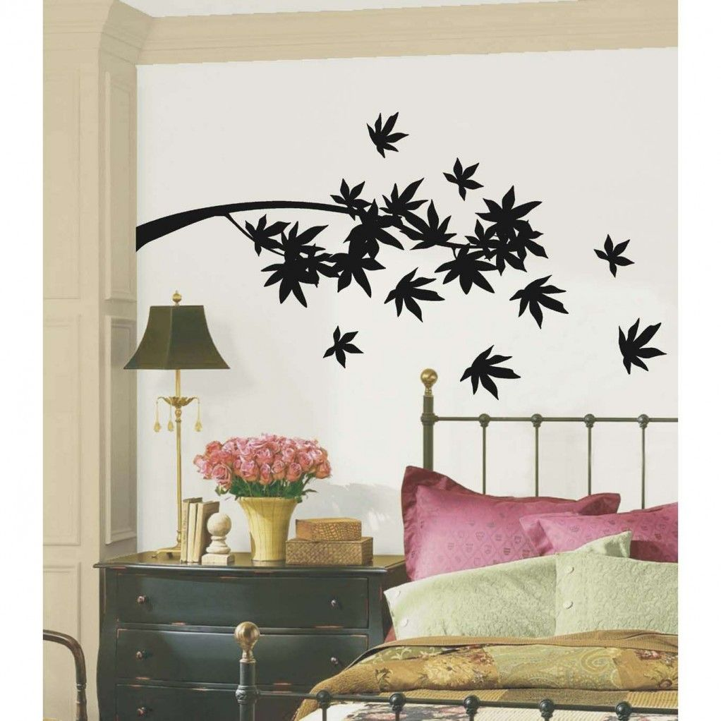 wall sticker behind bed decorating idea bedroom stickers chevron ...