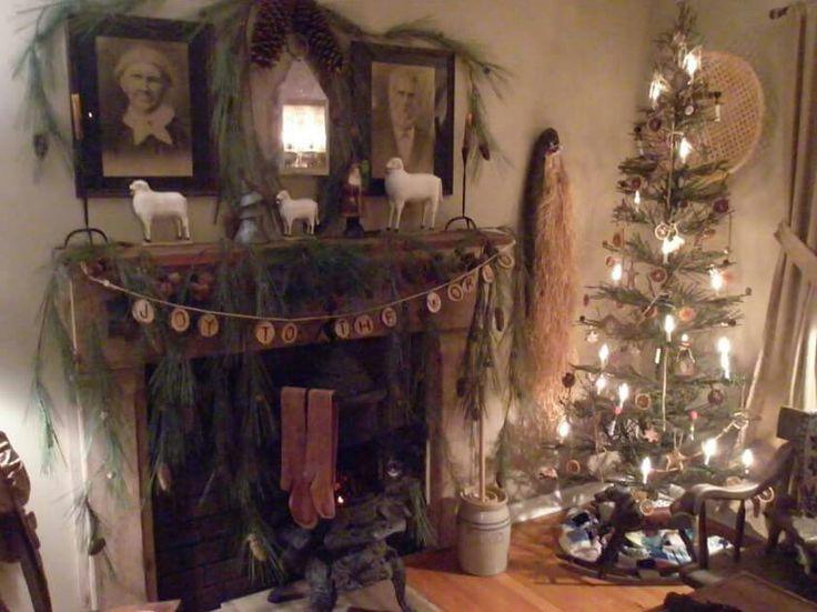 262 Best The Primitive Mantle Ideas Images On Pinterest Primitive Christmas Simple Christmas Christmas Decorations
