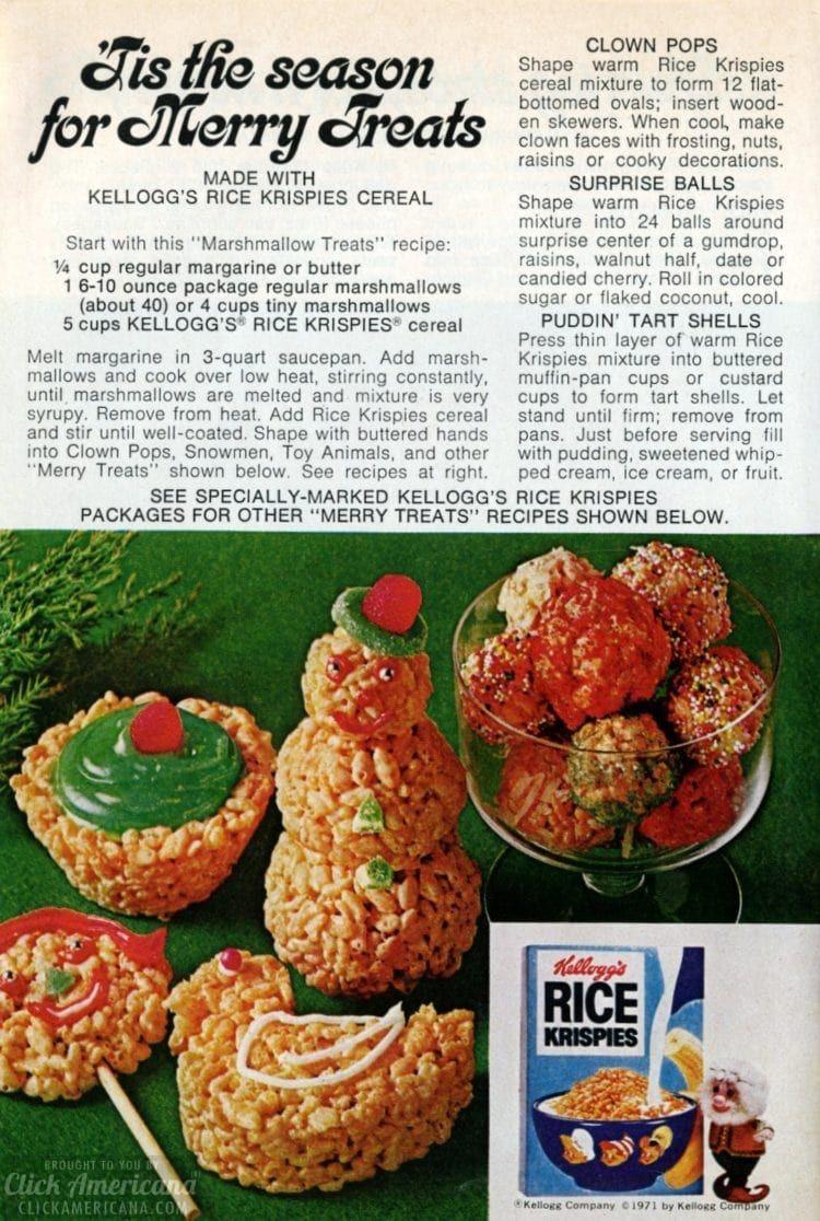 Make merry! 'Tis the season for vintage Christmas Rice Krispies Treats (1970s) - #ricekrispies #ricekrispiestreats #marshmallows #christmas #christmasdesserts #christmastreats #snowmen #desserts #vintagedesserts #retrorecipes #vintagerecipes #kelloggs #cereal #cerealrecipes #christmasrecipes #christmasdesserts #clickamericana