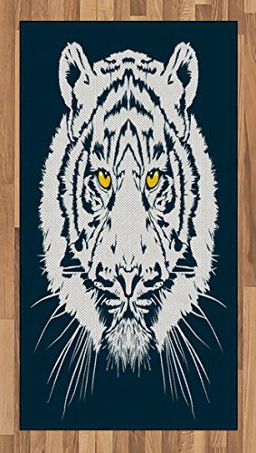 Tiger Area Rug By Ambesonne Aggressive Depiction Of A Giant Furry Feline Majestic Animal Mascot Asia Flat Woven Accent For Living Room Bedroom