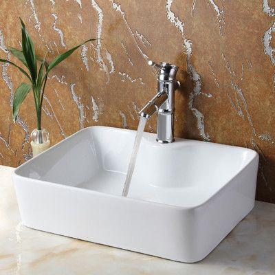 Elite Ceramic Rectangular Vessel Bathroom Sink & Reviews  Wayfair Stunning Wayfair Bathroom Sinks 2018