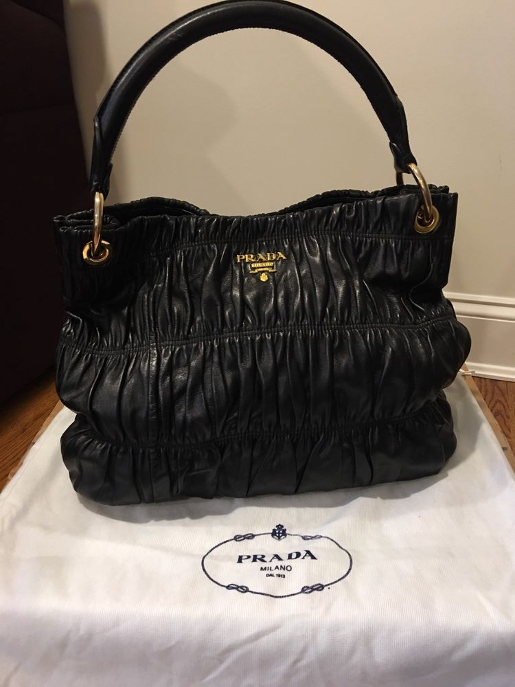 dc097b6a9775 Authentic PRADA Tote - Gaufre Nappa Black Leather Tote@ebay @pinterest  #designer #prada #women #sale #fashion