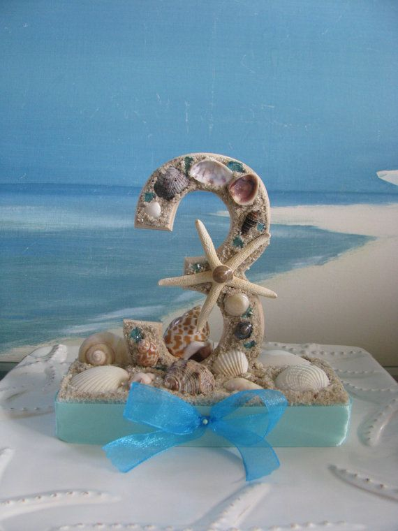 Seashell Table Numbers Beach Wedding Table Numbers Centerpiece By