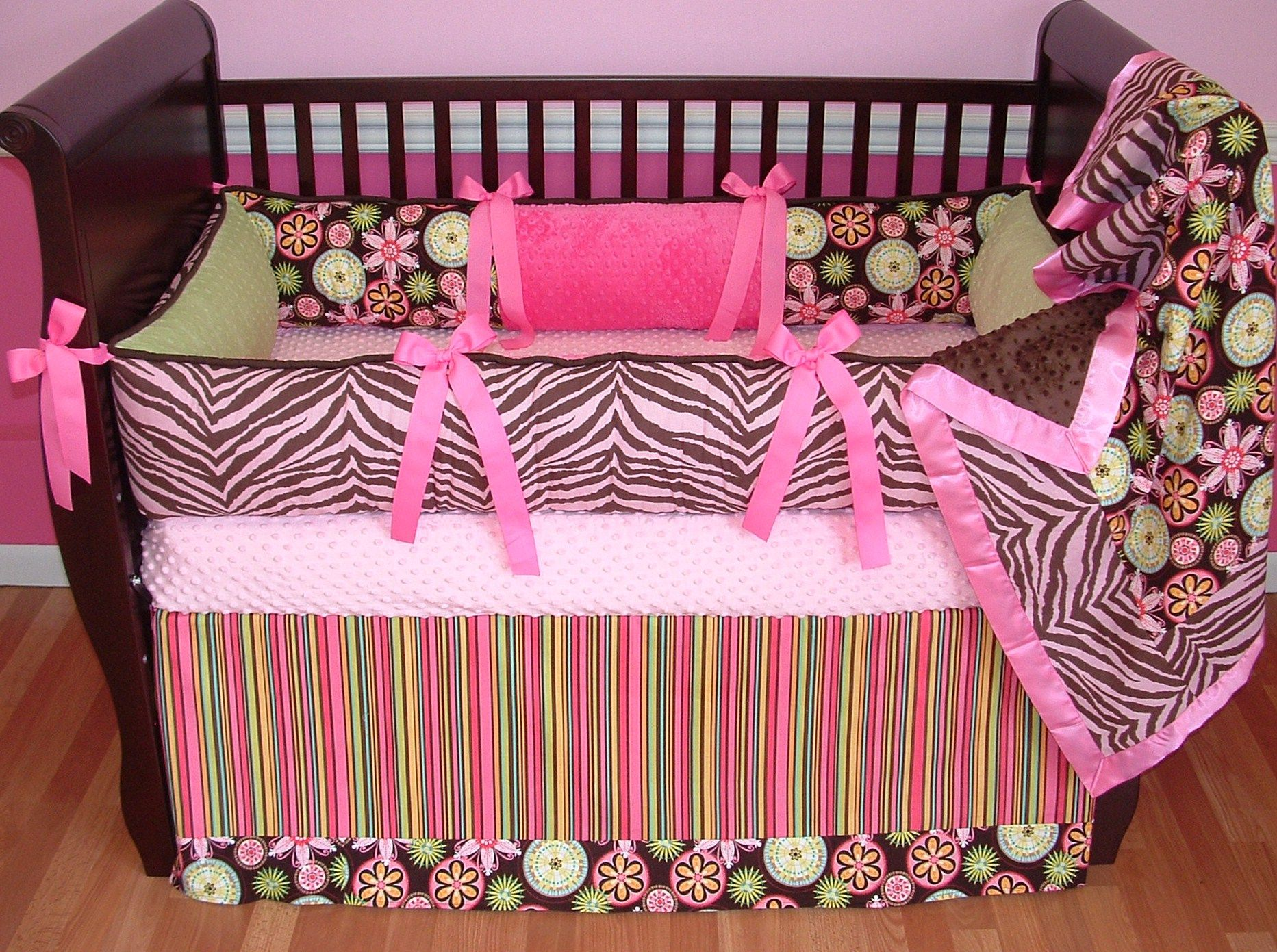 Wall Border For Pink Zebra Baby Bedding Set by Sisi