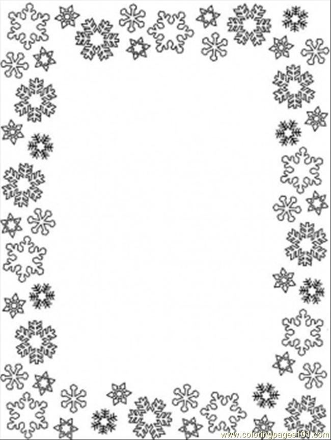 Free printable borders and backgrounds snowflake winter for Snowflake coloring pages printable