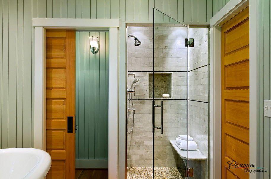 A Clear Glass And Wooden Sliding Door Ideas For Modern Bathroom Enchanting Bathroom Sliding Door Designs